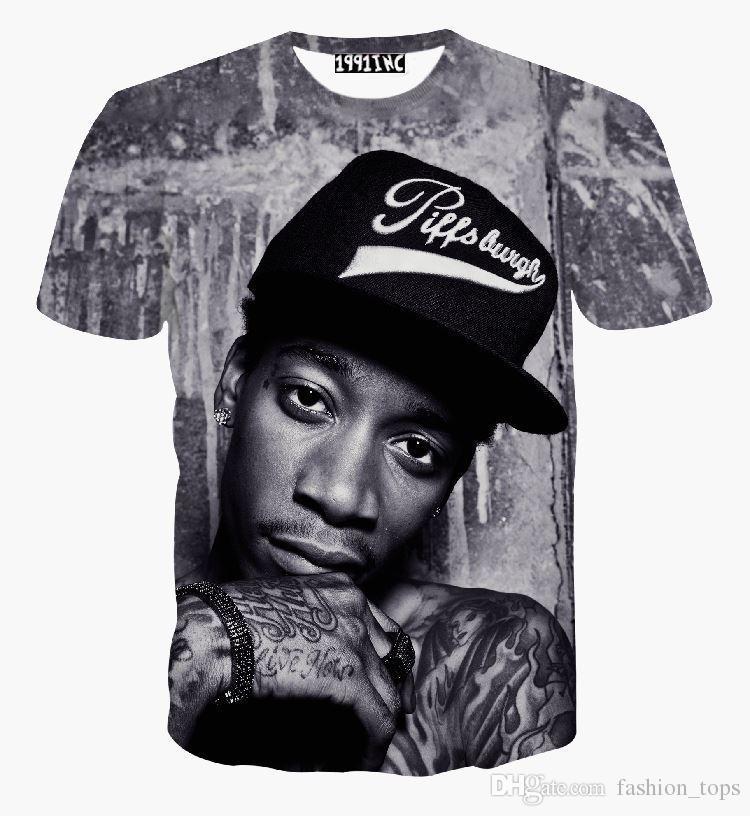 새로운 패션 남자 / 여자 힙합 록 싱어 펑크 3D 티셔츠 위즈 칼리파 2pac 티셔츠 재미 캐주얼 티셔츠 여름 겉옷