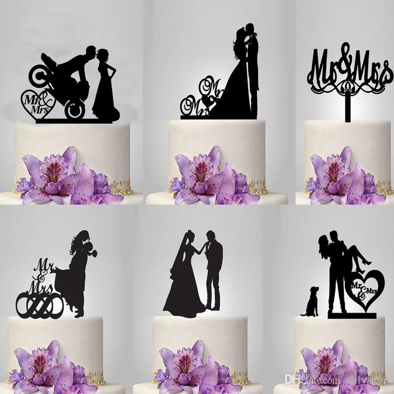 Wedding Cake Topper Mr & Mrs Bride And Groom Acrylic Wedding Cake Decorations Cupcake Toppers