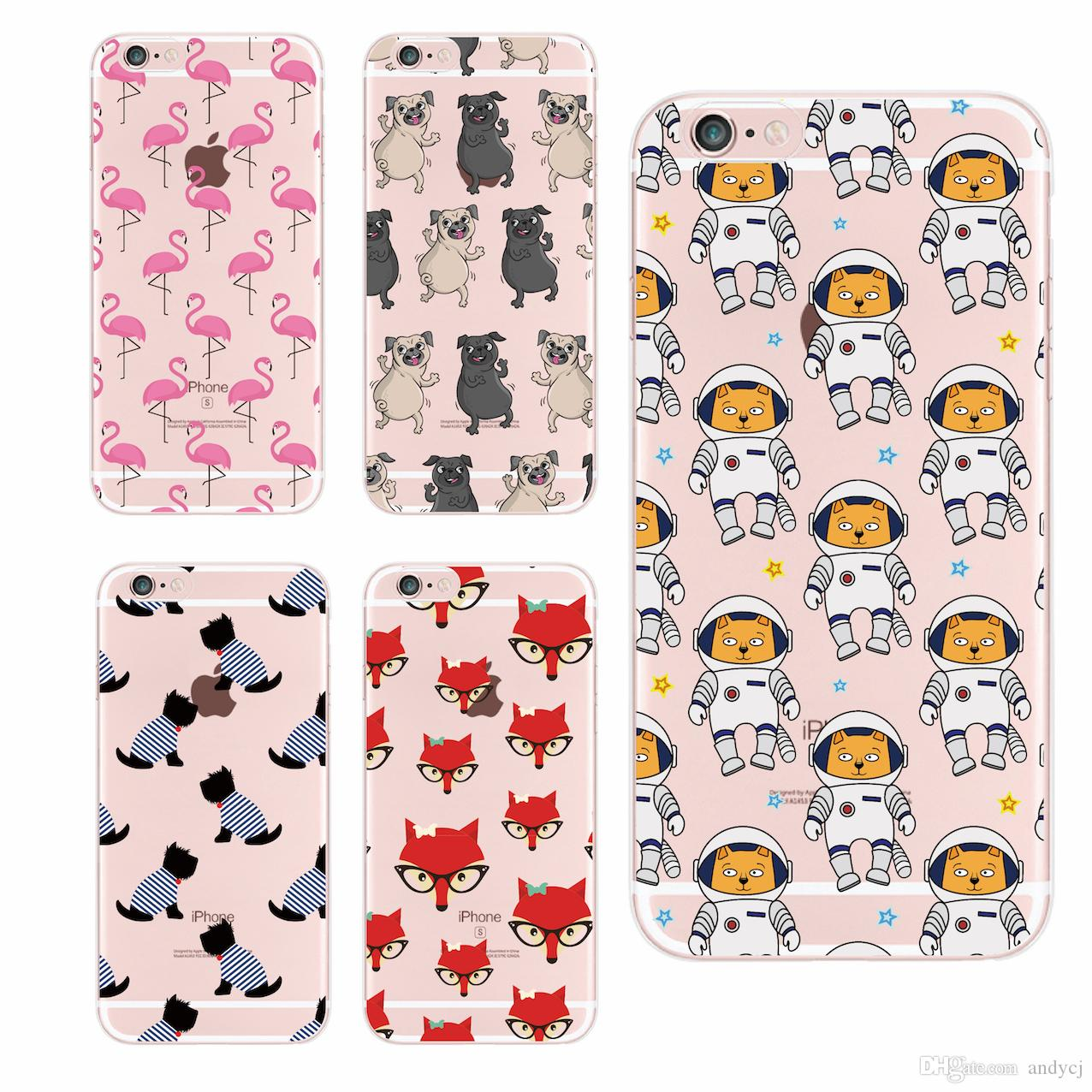 For iPhone 5S 6S 6Plus 7Plus 8 8Plus X Samsung S8 Cute French Bulldog Fox Space Dog Cat Girly Pattern Soft Clear Printed Case