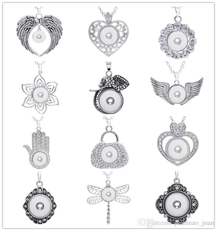 Оптовая 24 шт. много различных дизайн Оснастки кулон ожерелья Diy Оснастки ювелирные изделия взаимозаменяемые 18 мм кусок Fit имбирь защелками шарм с цепью