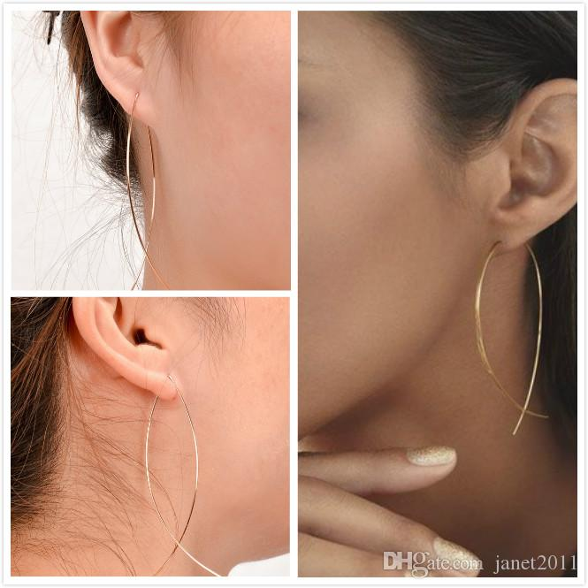 Mode Draht Fisch Ohrringe personalisierte Silber / Gold Plated baumeln Ohrringe für Mädchen / Damen Hoop Ohrringe