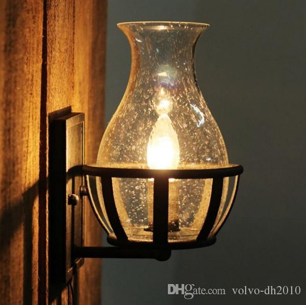 Moda Dekoracja Antyczne Ściany Ściany Szklany Wazon Kształt Vintage Latarnia Kerosen Zamek Ściana Ściana Świeca Light LLFA