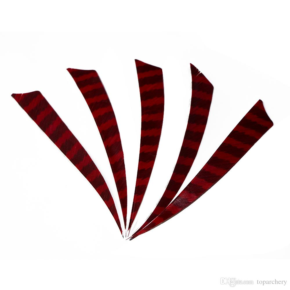 50pcs 5'' Right Wing Feathers for Glass Fiber Bamboo Wood Archery Arrows Hunting and Shooting Shield Red-black Fletching