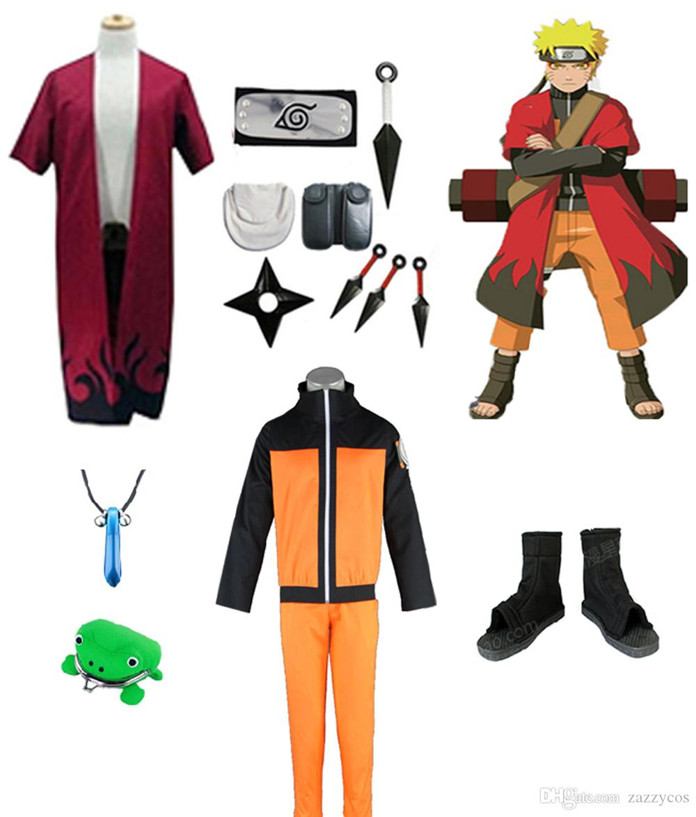 Naruto Cosplay Costume Immortal Mode Robe Shoes Headband Weapons Props Whole Set