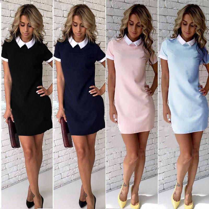 Sexy Frauen-Sommer-Kleid-beiläufige kurze Hülsen-Normal Female Umlegekragen Frauen Büro Kleider Frau Short Mini-Outfits