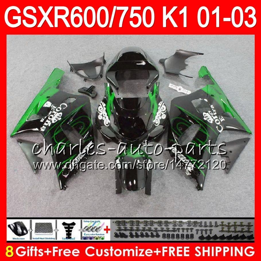 8 presentes 23 cores para o corpo Suzuki GSX-R600 GSXR600 GSXR750 01 02 03 8HM60 chamas cinza GSX R600 R750 K1 GSXR 750 600 2001 2002 2003 Fairing