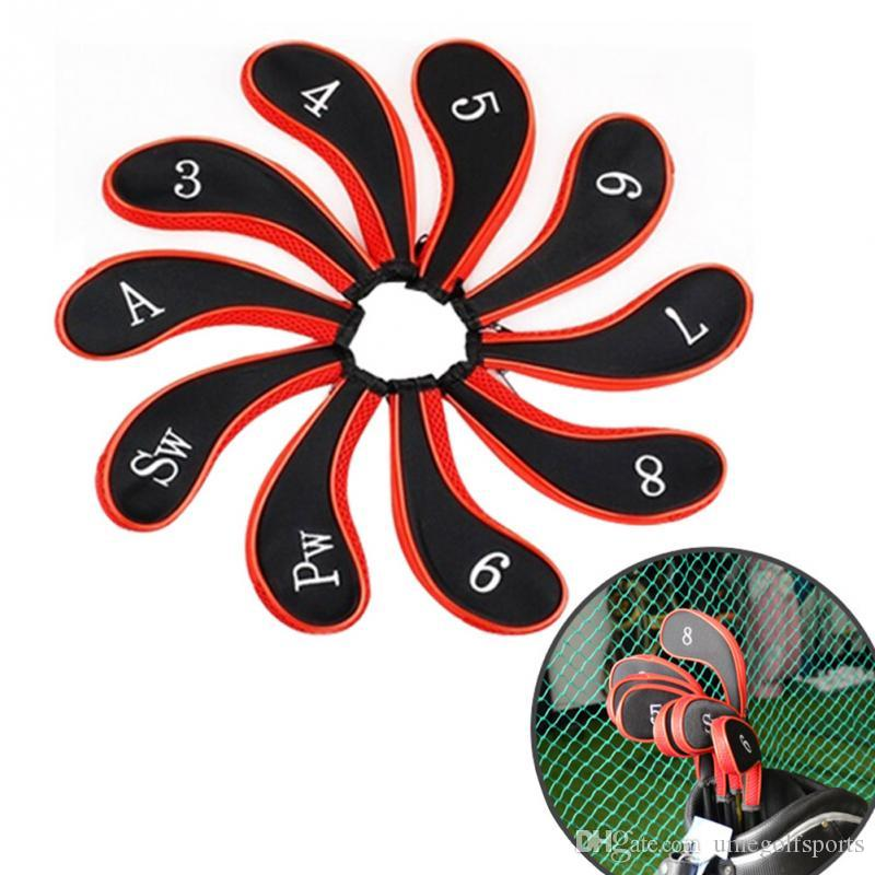 Hohe qualität 10 teilesatz Golf Club Eisen Headcovers Kopf Abdeckung Schützen Set Golf Eisen Putter Kopf Abdeckung Neopren Zipper design
