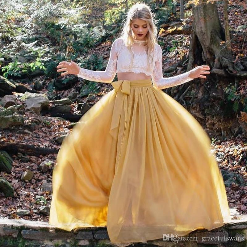 Due pezzi in pizzo a maniche lunghe abiti da promenade O-Collo A-Line gonna in chiffon giallo Abiti da cerimonia vintage per ragazze vestido longo de festa