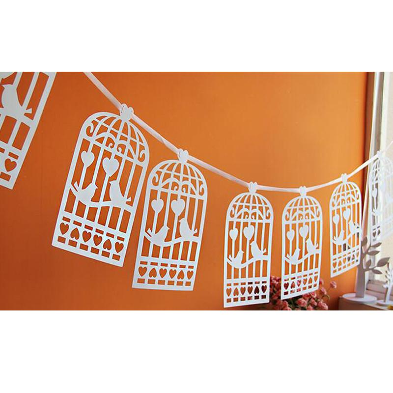 Lazer Cut Love Birds Design Vintage Wedding Bunting Banner Photo Booth Props Garland Bridal Shower Wedding Party Decoration (4)
