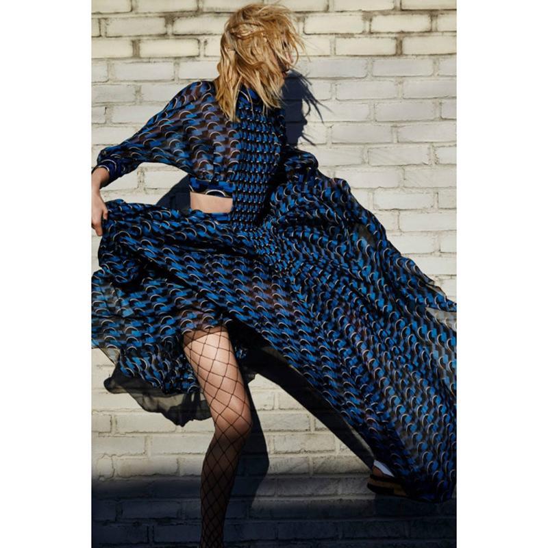 Оптовая продажа-высокое качество Новый 2016 взлетно-посадочной полосы макси платье женская 3/4 рукав геометрические печатных талии выдалбливают повседневная длинное платье длина 150 см