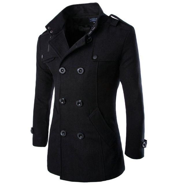 En gros-2017 Vente Chaude Mens Laine Manteau Casual Slim Fit Mode Double Breasted Solide Veste D'hiver Pour Hommes M-3XL (Taille Asiatique)