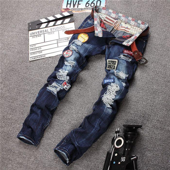 Gros-Rock Denim Jeans déchiré Pantalons Hommes, Jeans Skinny, Vintage Trou Patchwork Imprimé Jeans Pantalons Plus La Taille FS5406