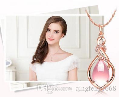 Großhandel Europa und den Vereinigten Staaten von Amerika hochwertige Frauen Furong Stein rosa Roségold kurze Anhänger Halskette