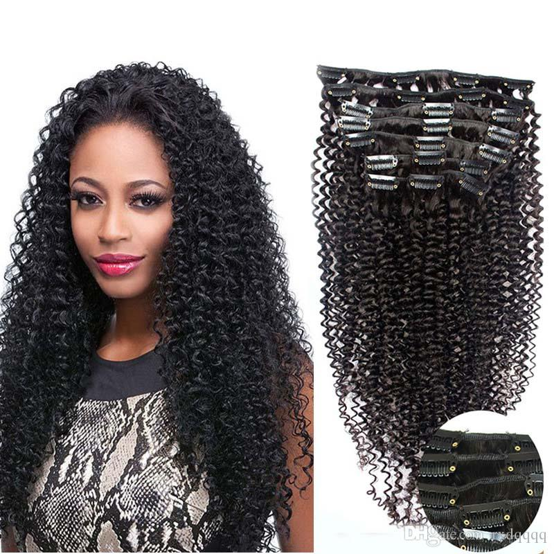 Afro Kinky Clip ins 100g 7pcs Natural Color 4b 4c clip in human hair extensions Natural Hair