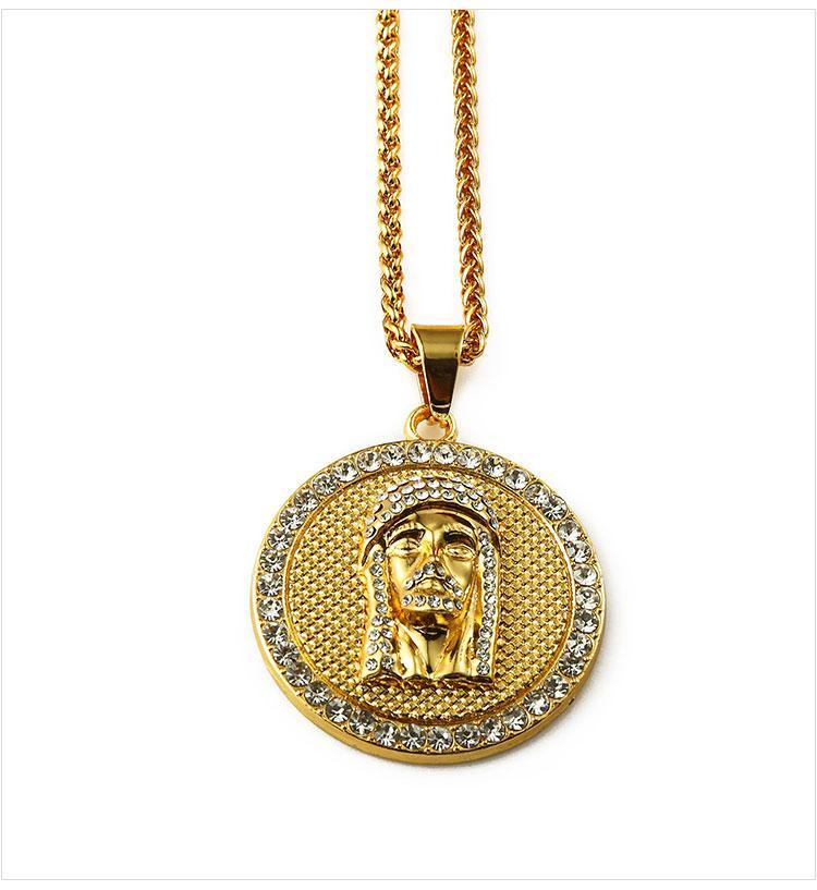 02 hip hop jesus round shape pendant necklace