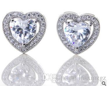 Diamante de alta calidad en forma de corazón de cristal diamond14K Pendientes de oro Novia de la joyería