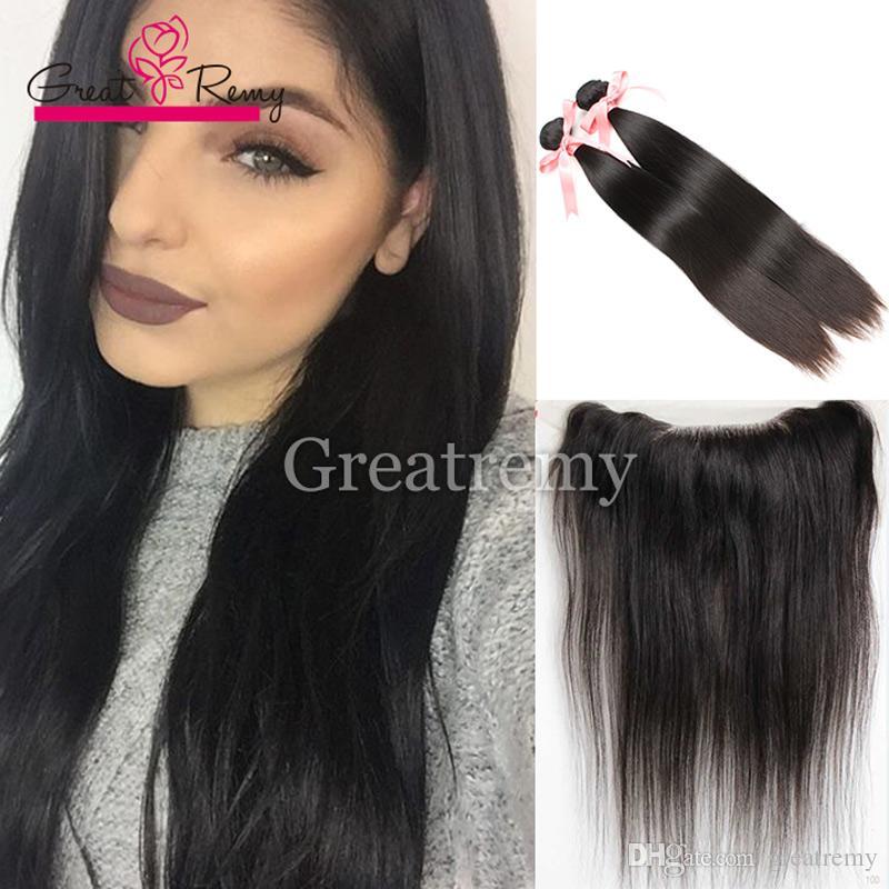 2pcs Straight норка бразильского волос с Фронтальными Природными Lace Фронтального Закрытия 13x4 с узелками Девы человеческих волосами с ухом до уха фронтального