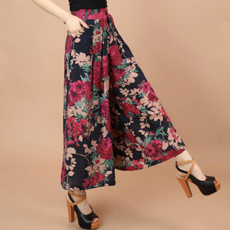 Plus size Sommer Frauen-Druck-Blumen-Muster-breite Bein lose Leinenkleid Hosen Weibliche beiläufige Rock Hosen Capris Culottes N597
