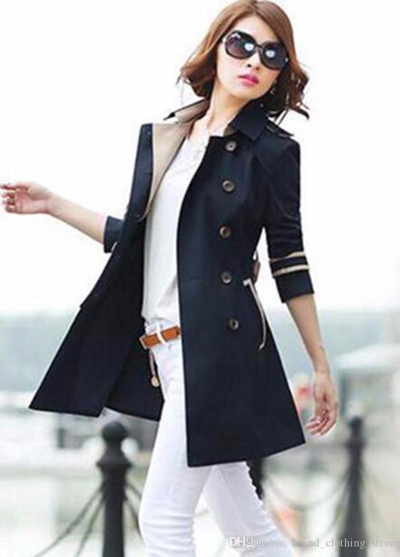 女性Qiu Dongヨーロッパとアメリカのファッションのトレンドが新しいHan版で栽培されている道徳的なトレンチコート/ S-3XLを栽培する