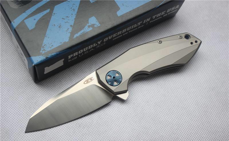 Ücretsiz nakliye, yüksek kalite, ZT0456 Flipper katlanır bıçak rulman D2 blade TC4 kolu açık Survival kamp avcılık pocket knife EDC aracı