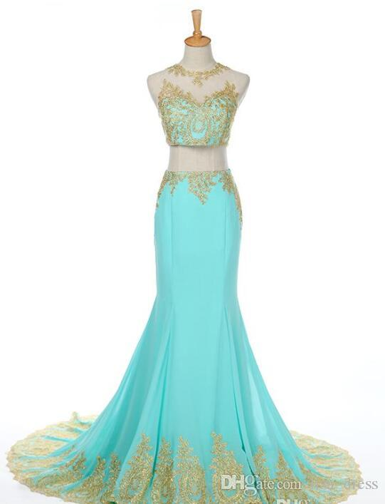 Two Piece Mint Chiffon Prom Dresses 2020 Mermaid Crew Gold Applique Lace Evening Dress Crop top Sweep Train Formal Party Gowns Real Pictures