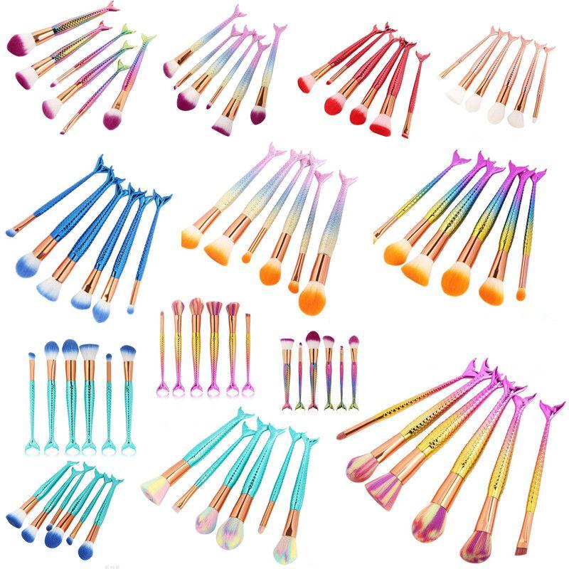 3D Coloré Sirène Maquillage Pinceaux 6 PCS Maquillage Brushes Tech Professionnel Beauté Cosmétiques Mermaid Tail Maquillage Brosses Ensembles DHL gratuit