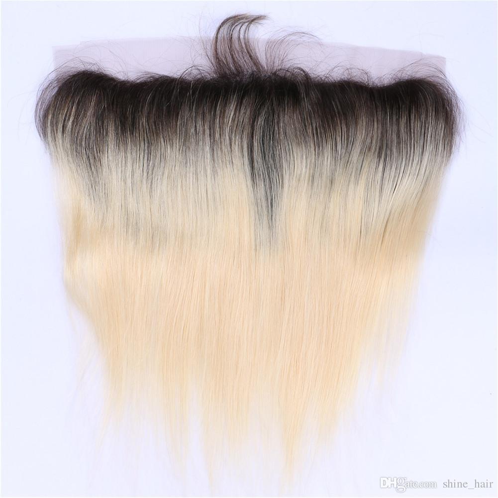 Free / Middle / 3 Way 파트 브라질 스트레이트 옹 브 레이스 정면 클로져 13x4 표백 매듭 2 톤 # 1B / 613 Blonde Ombre Full Lace Frontals