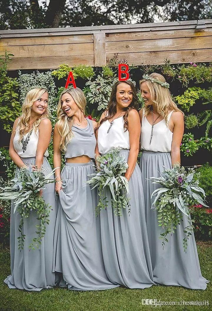 Две части Длинные платья подружки невесты 2017 A-Line Длина пола Boho Chiffon Junior Bridesmaid платья длинные горничные чести