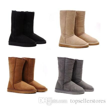 Fashion Winter Snow Boot Christmas Gift Women Warm Classic Tall Boots Simple Style Ladies Shoes Chestnut Grey Black Online Sale