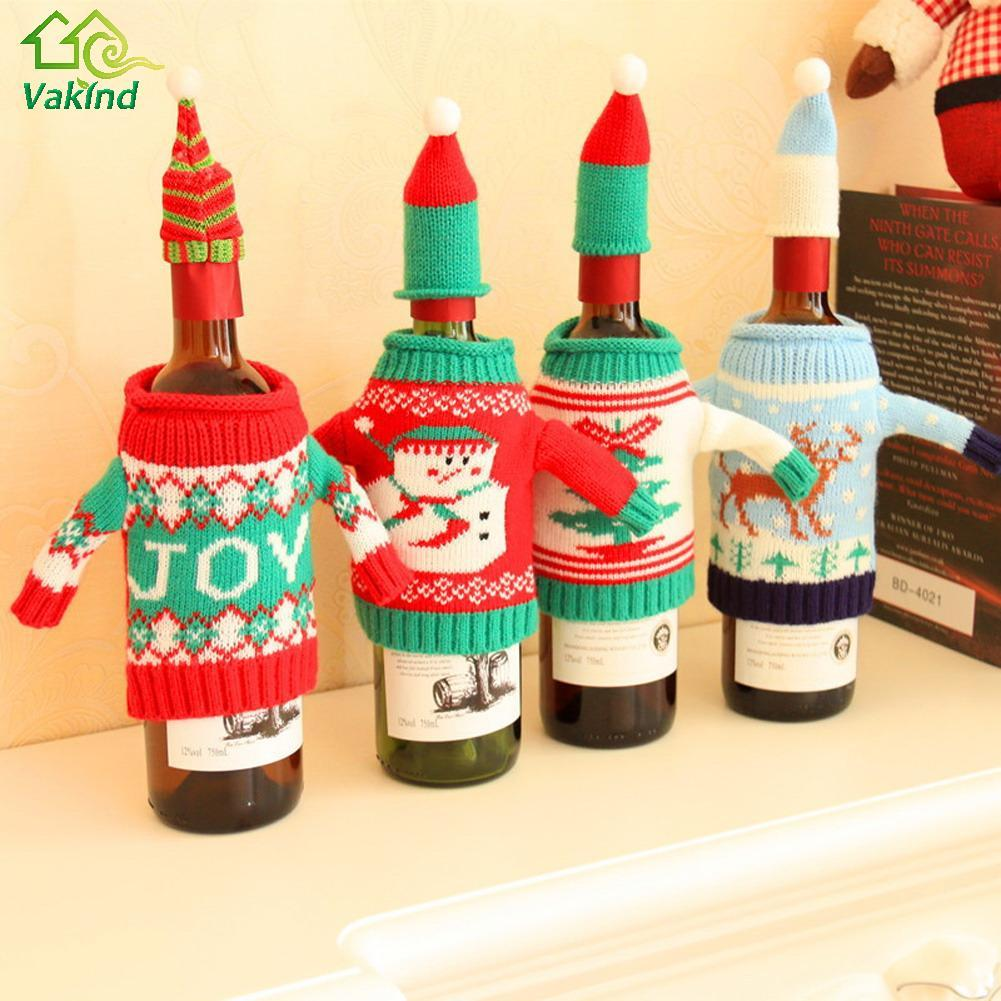 Christmas Wine Bottle Cover Bag Navidad Banquet Christmas Dinner Party Xmas Plush Cute snowmen Table Decor new years supplies