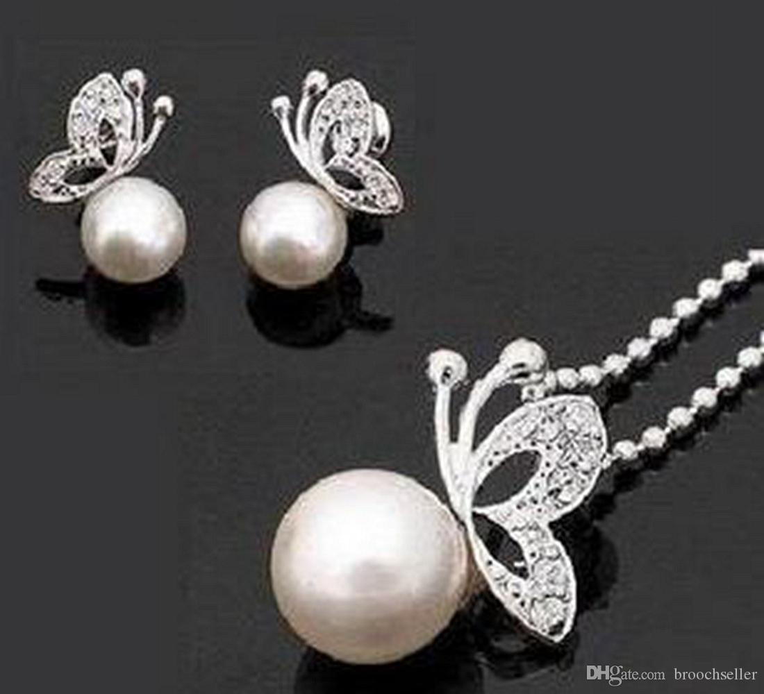 Argent crème perle clair strass cristal petit papillon pendentif collier et boucles d'oreilles ensemble de bijoux de qualité supérieure