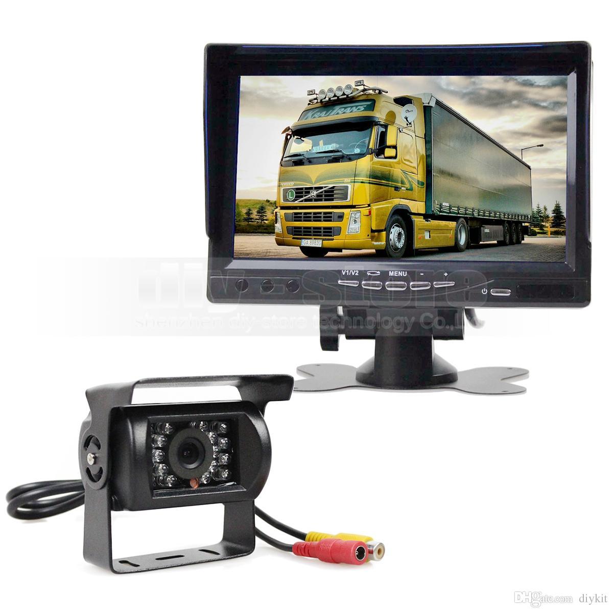Sun Shade 7 inch TFT LCD Display Rear View Car Monitor + Waterproof IR Night Vision Rear View Camera Car Camera