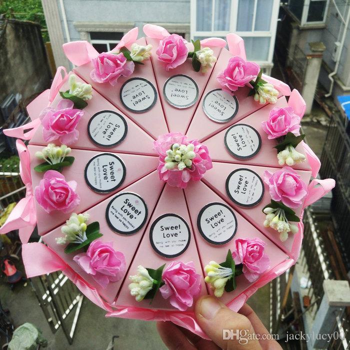 파티 장식 케이크 셰이프 종이 캔디 상자 꽃 bowknot 리본 낭만적 인 결혼식 호의 선물 상자 홀더