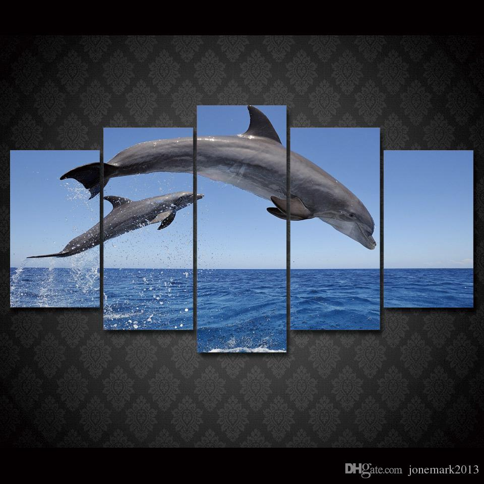 5 Pcs/Set Framed HD Printed dolphin ocean seascape Group Painting room decor print poster picture canvas Free shipping/ny-004