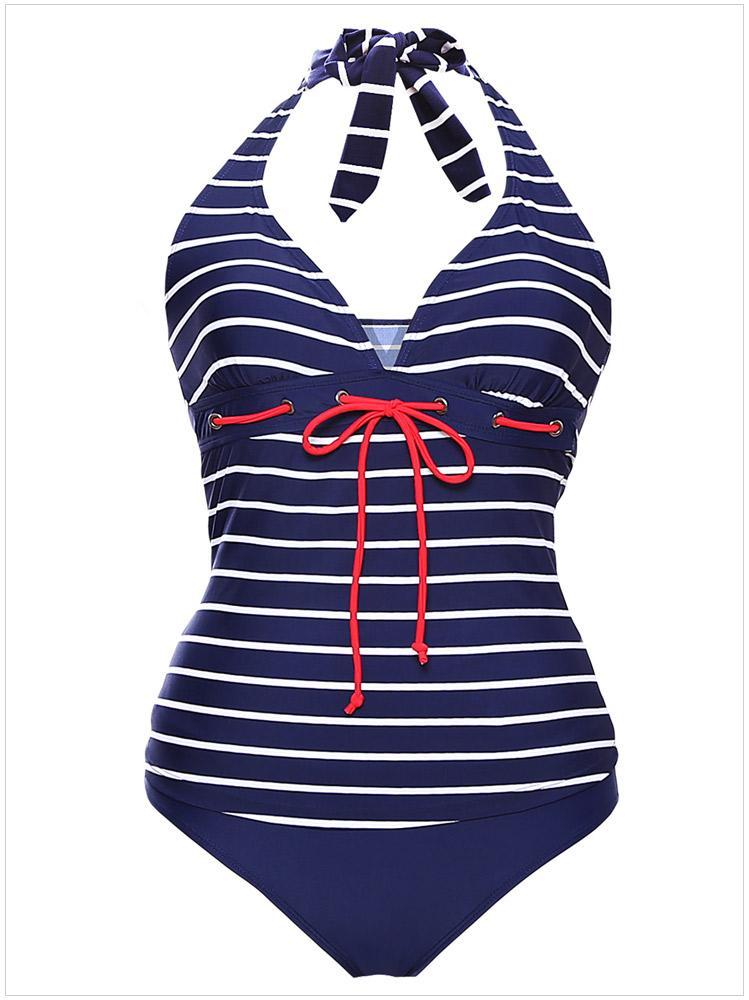 ad99583777 Womens Sexy Striped Halter Tankini Swimsuit Two Piece Swimwear Bathing Suits  Size:S XL XXL XXXL DLM410026