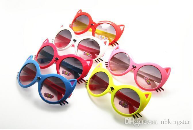 Sommerstil 2017 Neue Heiße Verkauf Hohe Qualität Kinder UV Sonnenbrille Cartoon Katze Tierformen Sonnenbrille Gläser Für Kinder 24pcs / lot