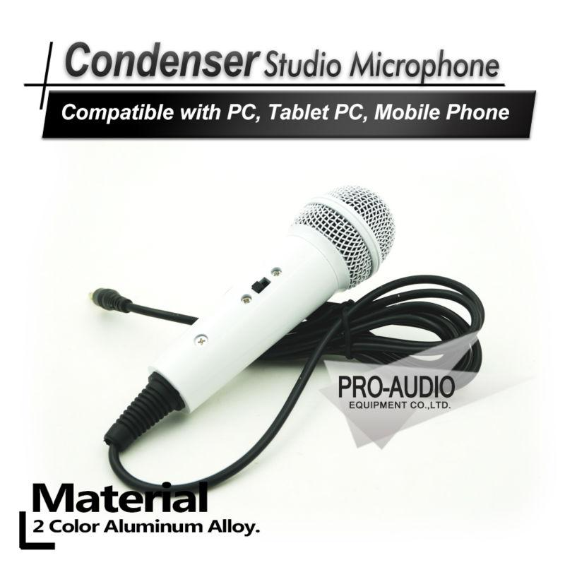 White Mini Handheld Wired Condenser Microphone with 3.5mm Plug for UC QQ YY QT IS Cellphones Tablets Computers Laptops Home KTV