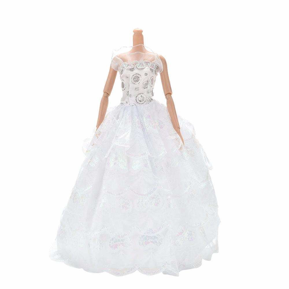 Handmade White Party Wedding Dress For Barbie Princess Floor Length ...