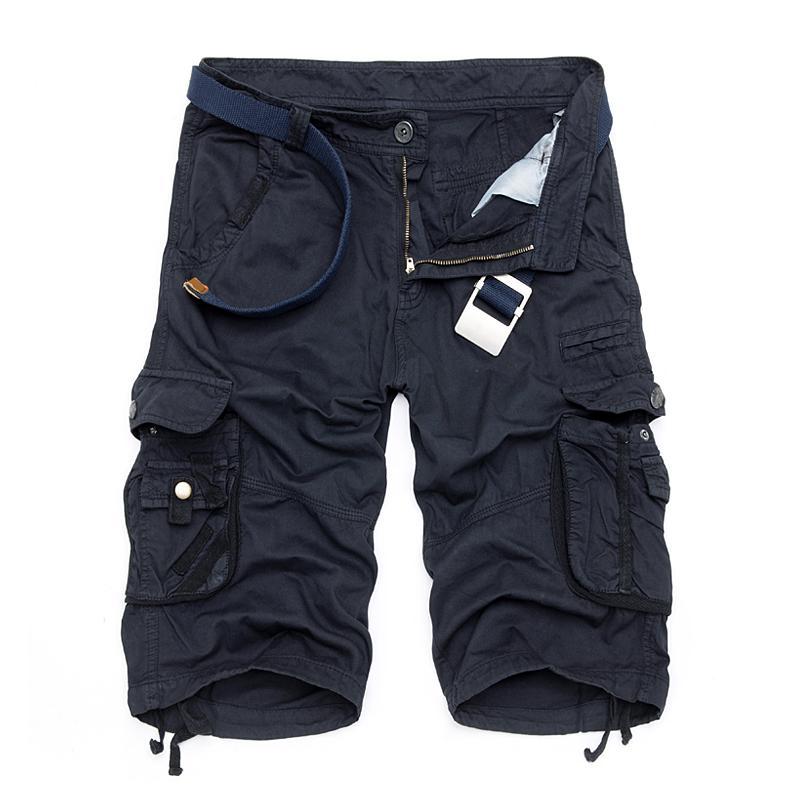 Al por mayor-Quinto corto de algodón de los hombres de verano nueva moda casual vestido multi-bolsillo pantalones cortos de camuflaje Envío gratis 29-40 sin correa