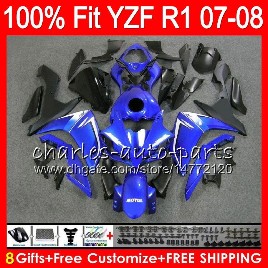 8Gifts 23Colors Injection Pour YAMAHA YZF1000 YZFR1 07 08 YZF 1000 37HM11 YZF-R1 07-08 YZF-1000 YZF R 1 bleu noir YZF R1 2007 2008 Carénage