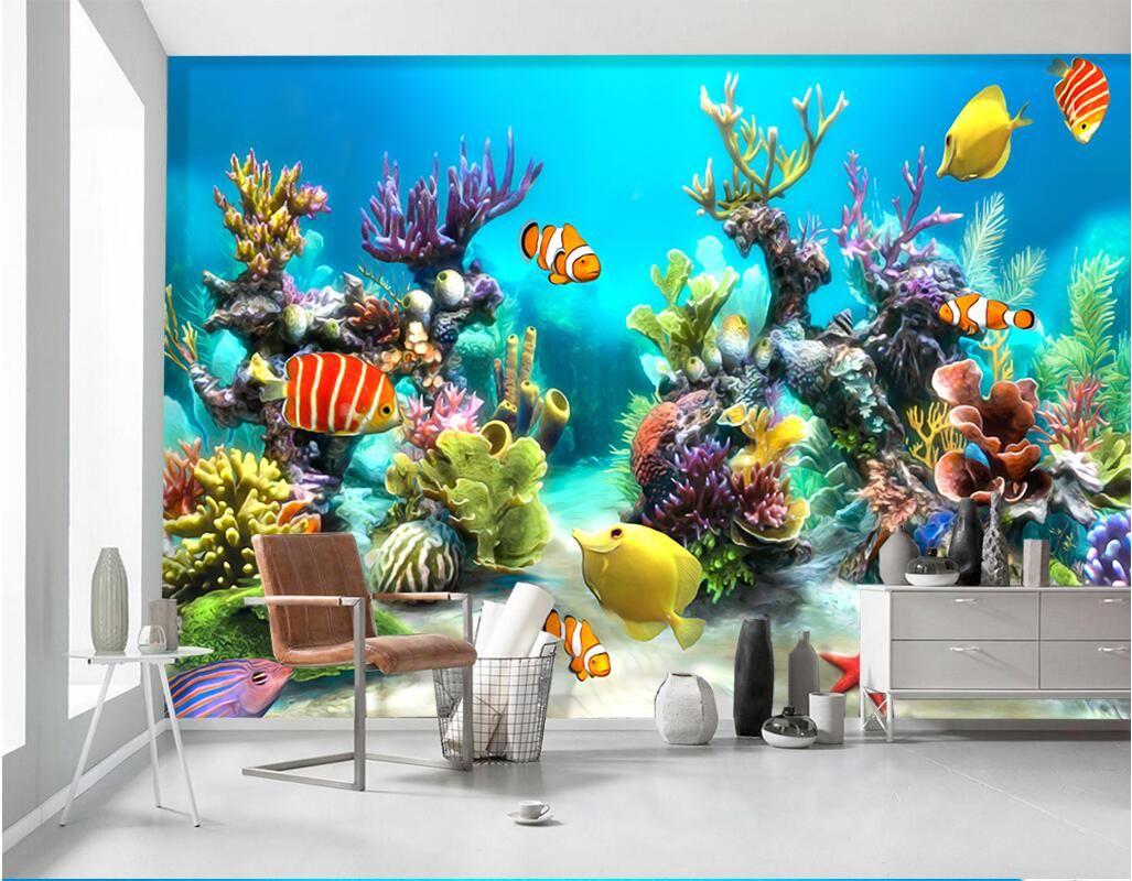 3d Room Wallpaer Custom Mural Photo Underwater World Tropical Fish