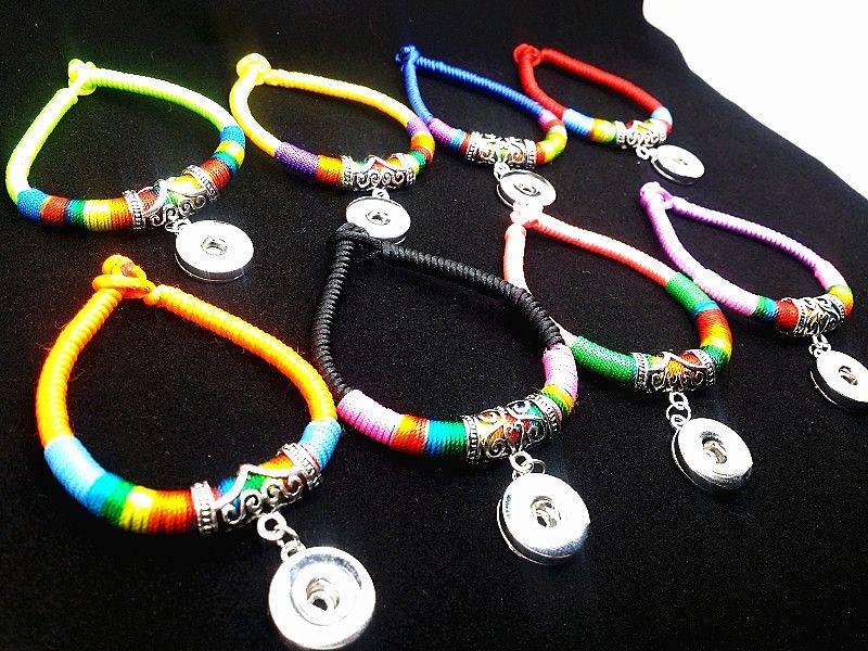 оптовые женские смешанные много ручной этнические племенные взаимозаменяемые 18 мм кнопки очарование манжеты Нуса браслеты новый