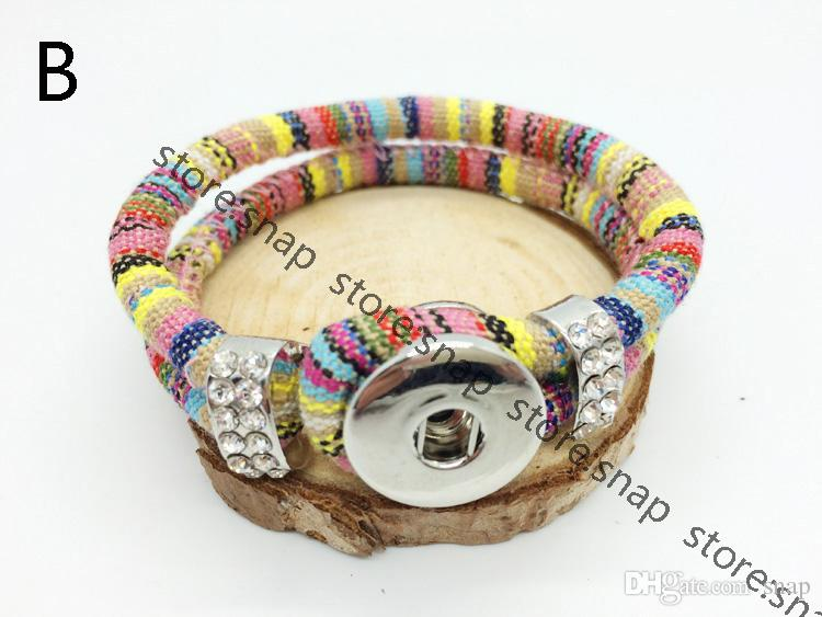 Vente en gros mixte imitation diamant bracelet Charm bouton pression Bracelet Snap Button bijoux bracelet interchangeable (fit 18mm bouton)