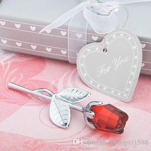 Nuovi fiori artificiali di cristallo trasparente rosa Baby Shower Souvenir Bomboniere e regali per la decorazione domestica degli ospiti