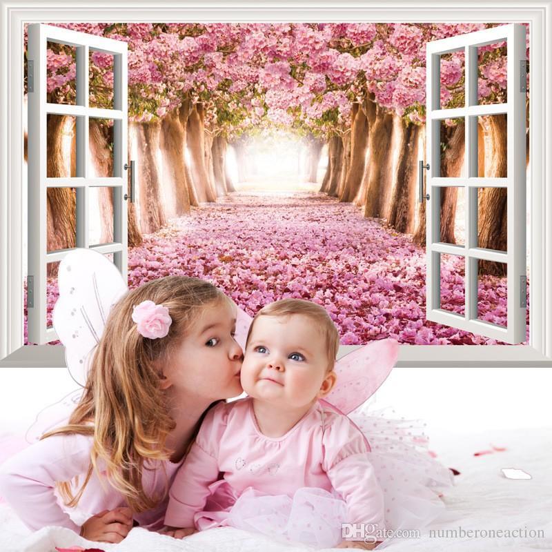 البحر الخزامى أزهار الكرز رومانسية الوردي زهرة شجرة الجدار نافذة الشارات الجدار ملصق لغرفة نوم غرفة المعيشة