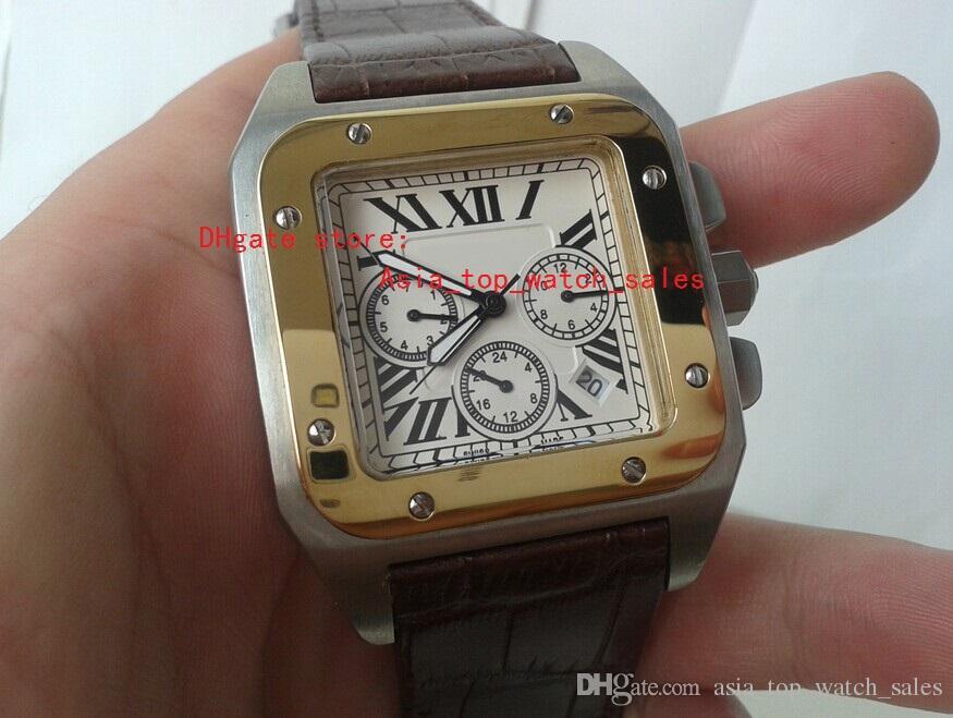 Venta directa de fábrica 100 XL de acero inoxidable 18k oro reloj de cuarzo de los hombres W20091X7 Fecha de deporte de los hombres correa de cuero Correa de cuero blanco