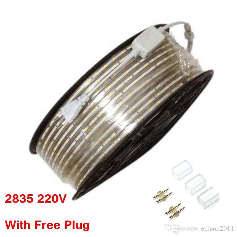 Edison2011 100m / Roll SMD 2835는 3528보다 방수 순수한 백색 / 온난 한 백색을 점화하는 지구 빛 220V 60leds / M Tiras Fexible 테이프를지도했습니다