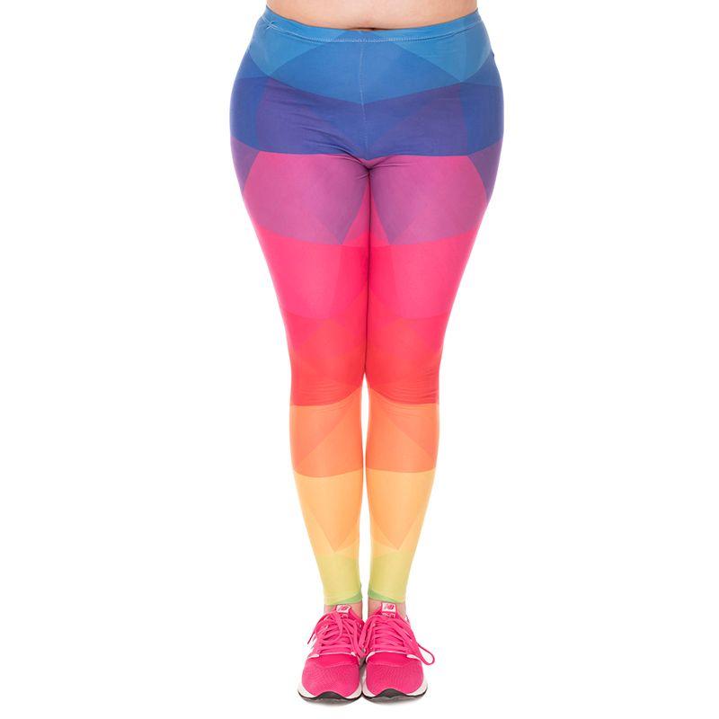 Girl Leggings Triangles Rainbow 3D Graphic Print Women Colorful Pattern Soft Pants Lady Workout Trousers Plus Size Fits L XL XXL (J45763)