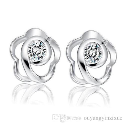 Cute Flower Ear Studs Womens Tiny Sweet 925 Sterling Silver Flower Earrings Real Silver Jewelry Gift(Color:Silver)