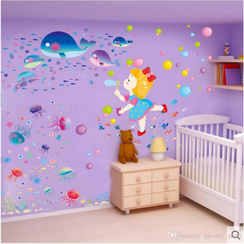 Fashion Children Cartoon Submarine World 3d Stickers Pvc Wallpaper Nursery Children Kids Baby Room Bedroom Wall Decoration Wall Stickers For Bedrooms Wall Stickers For Boys From Qwonly Shop 4 07 Dhgate Com